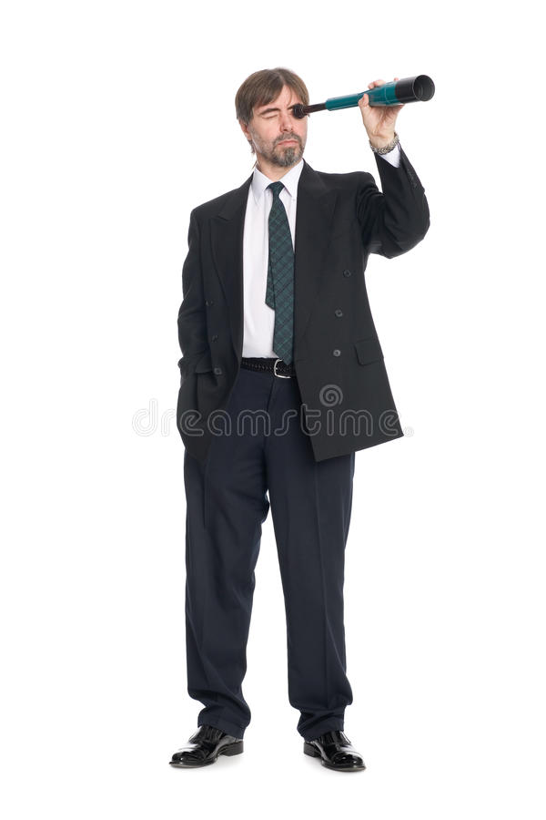 Download Businessman Looking A Spyglass Stock Photo - Image: 17609992