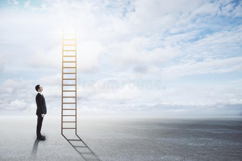 Success, opportunity and future concept. Businessman looking at stairs on sky background. Success, opportunity and future concept royalty free stock images