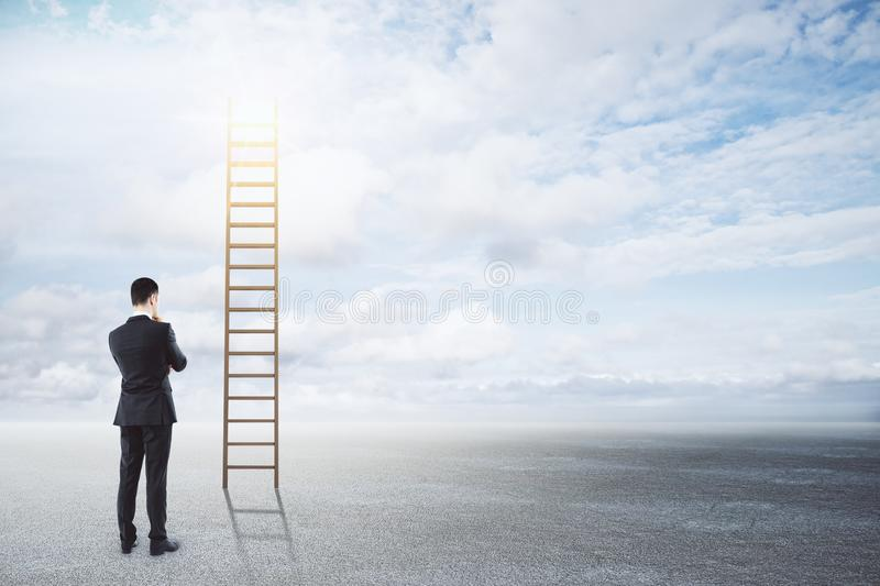 Success, opportunity and growth concept. Businessman looking at stairs on sky background. Success, opportunity and growth concept stock images