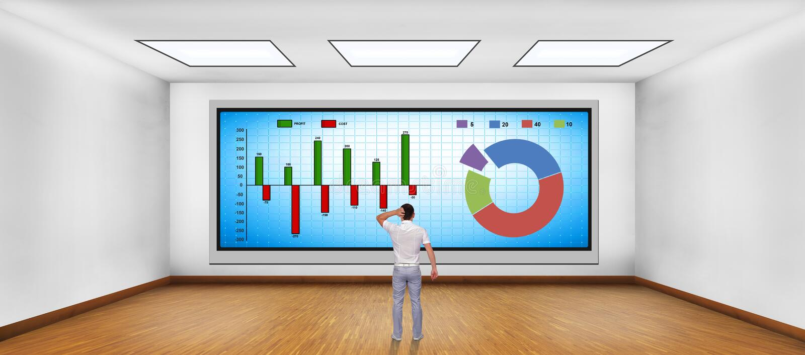 Businessman looking at stock chart. Businessman looking at plasma tv with stock chart stock photos