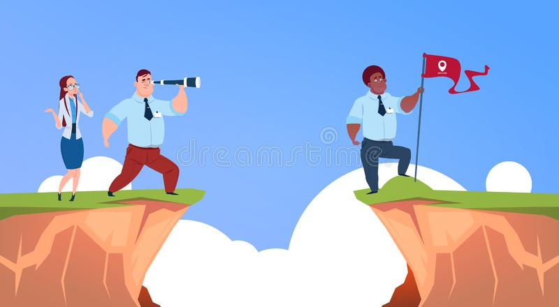Businessman looking straight with binocular on business man with geolocation flag over abyss mountain risk assessment vector illustration