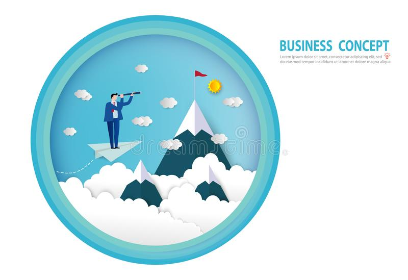 Businessman looking into telescope search opportunity flying on paper plane above clouds. goals, success, Paper art style. People business concept vector flat royalty free illustration