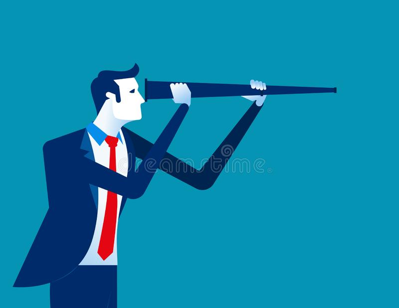 Businessman looking to the future. Concept business vector illustration royalty free illustration