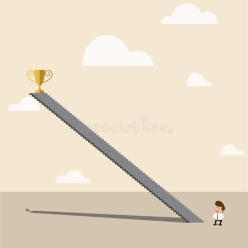 Businessman looking to high up golden trophy of to stock illustration