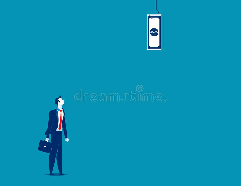 Businessman looking up at dollar banknote dangling from fish hook stock illustration