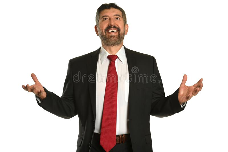 Businessman Looking Up With Hands Raised royalty free stock image