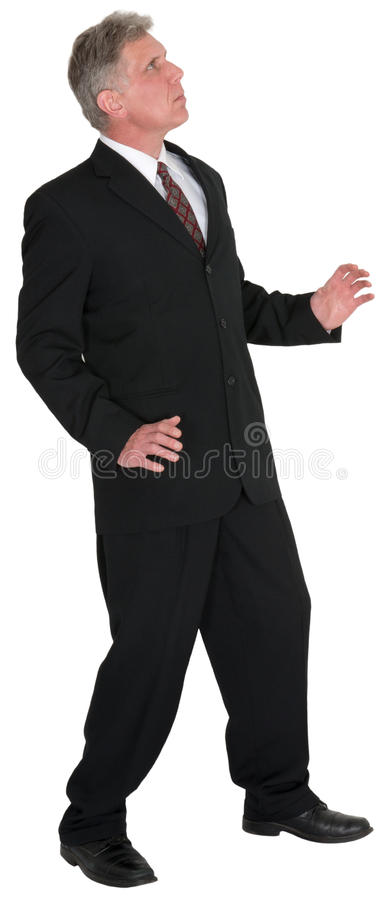 Businessman Looking Up Isolated stock image