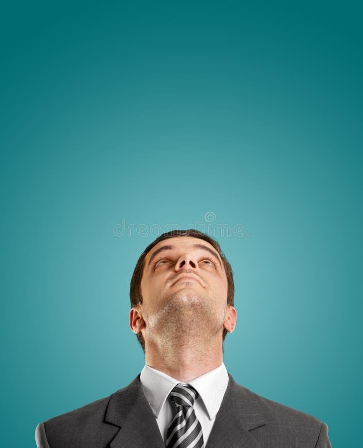 Businessman Looking Upwards stock image