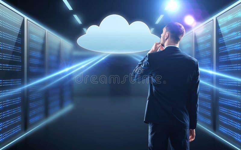Businessman looking at virtual cloud hologram stock images