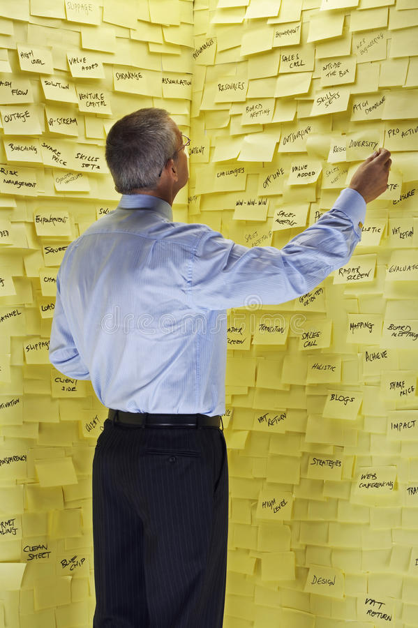 Businessman Looking At Wall Covered In Sticky Notes royalty free stock photos