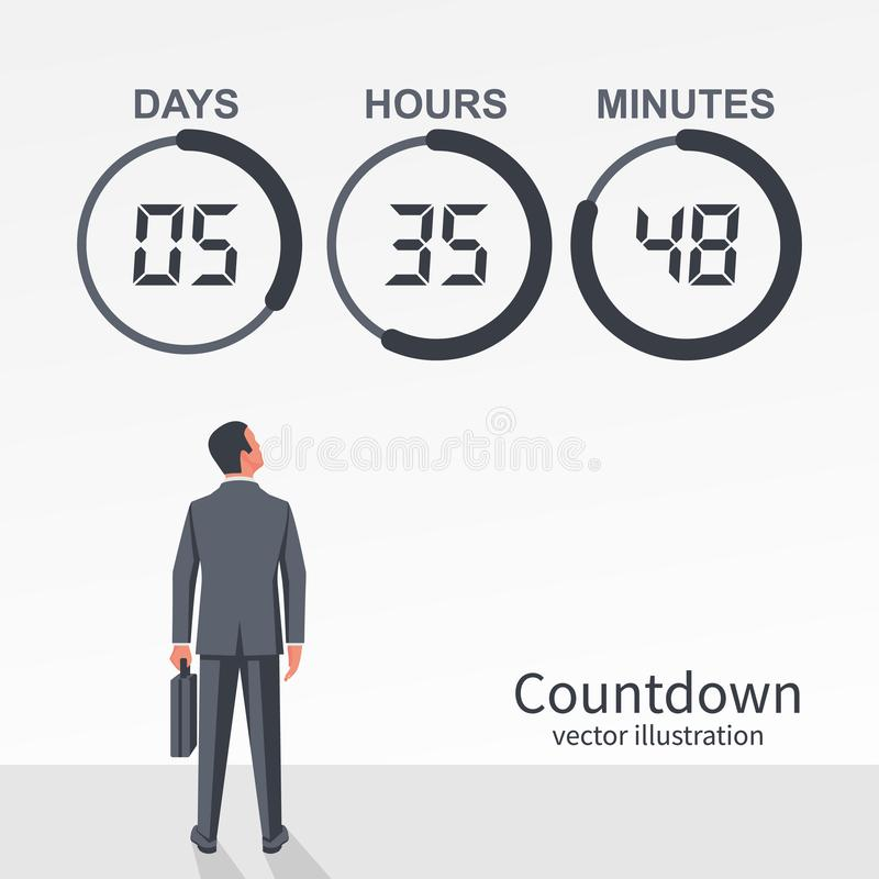 Businessman looks at the countdown clock with pie diagram vector illustration
