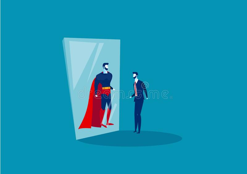Businessman looks in the mirror and sees a superhero. Confident power. Business leadership. on blue background vector illustrator stock illustration