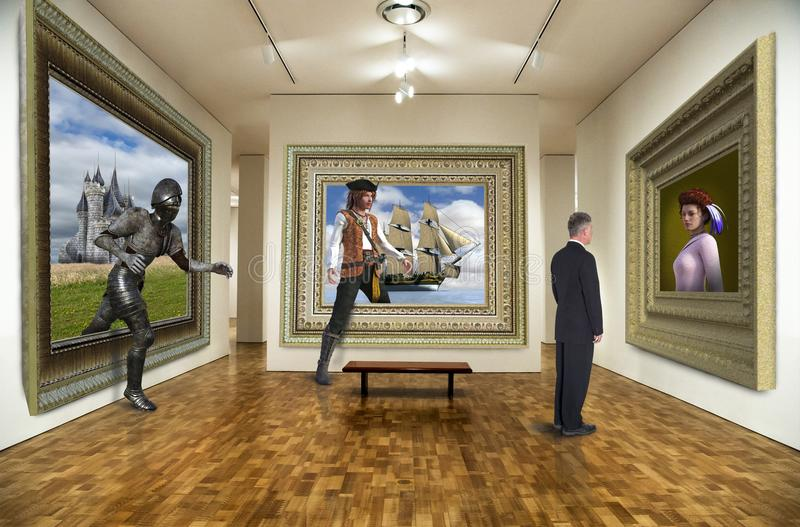 Funny Art Gallery, Surreal Paintings. A businessman looks at an oil painting in a surreal art gallery. The paintings come alive when he isn`t looking. Ominous stock photography