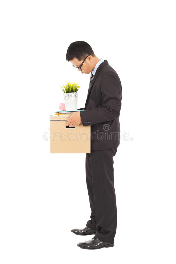 Businessman Loses His Job With Belongings Stock Photo