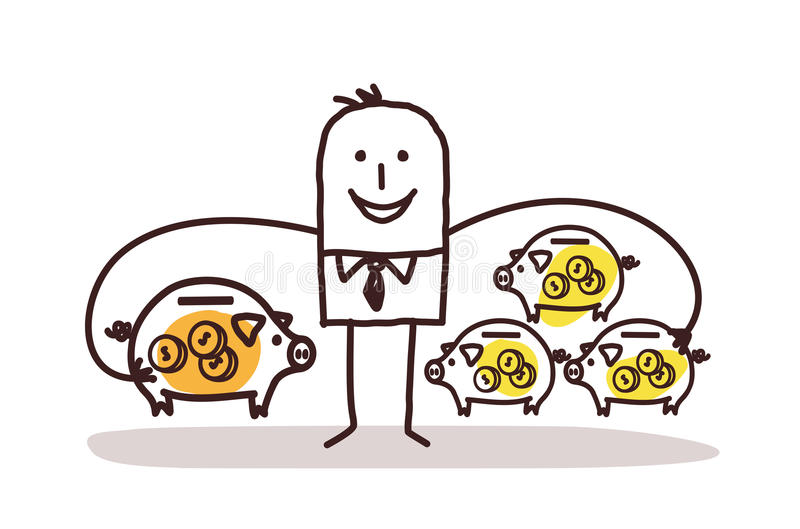 Businessman With Lot of Piggy Banks. Vector vector illustration