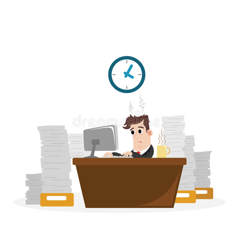 Businessman with a lot of work royalty free illustration
