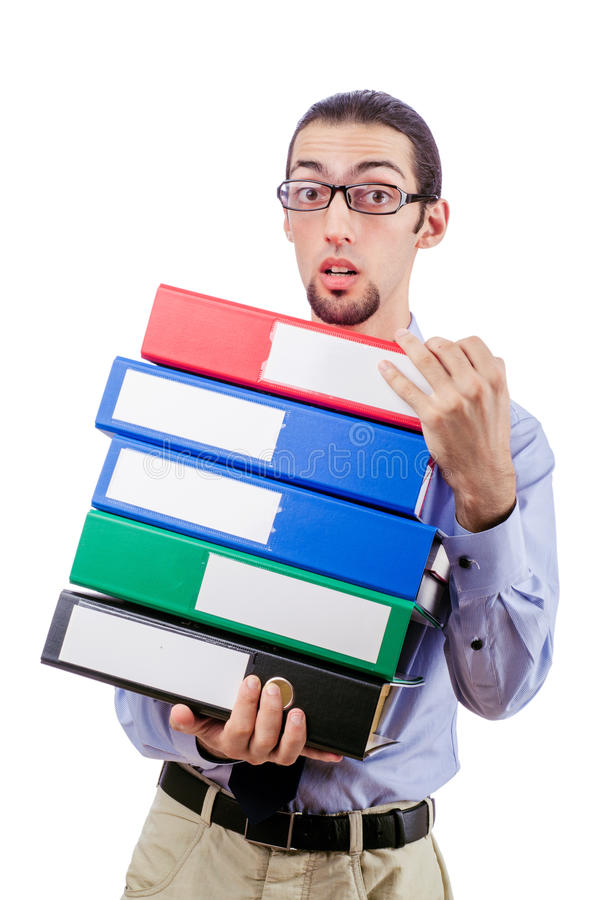 Download Businessman With Lots Of Folders Stock Image - Image: 28348039