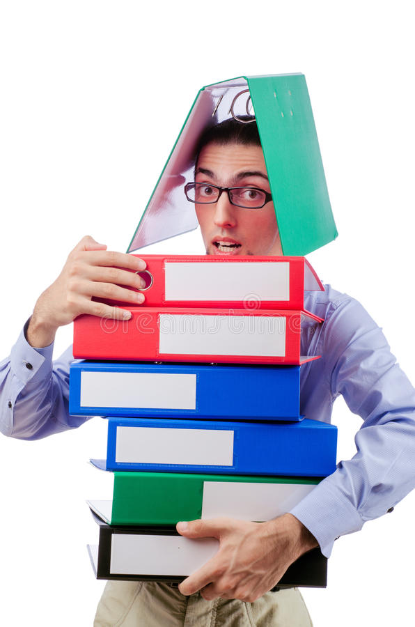 Download Businessman With Lots Of Folders Stock Image - Image: 28785131
