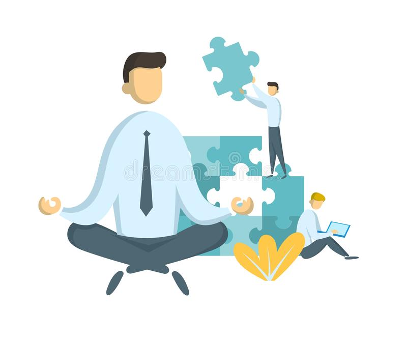 Businessman in lotus pose watching puzzle pieces being put together. Teamwork and leadership. Leader and stress stock illustration