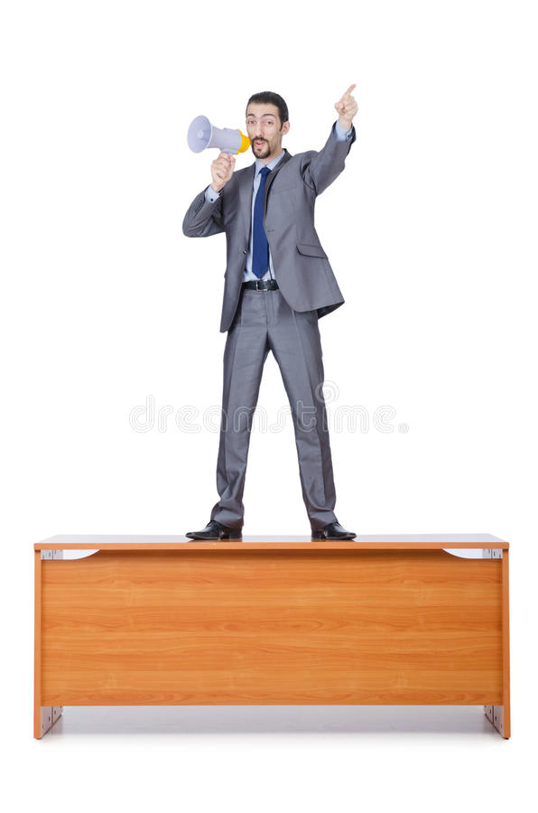 Businessman With Loudspeaker Stock Images
