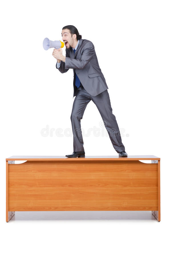 Businessman With Loudspeaker Royalty Free Stock Image