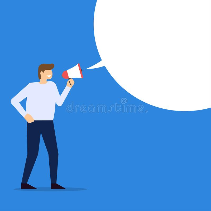 Businessman with loudspeaker and blank speech bubble. Man with megaphone. Vector illustration stock illustration