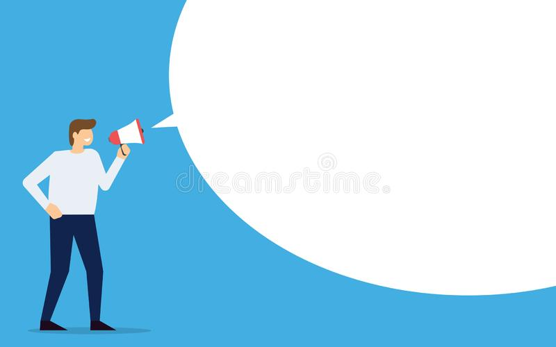 Businessman with loudspeaker and blank speech bubble. Man with megaphone. Vector illustration royalty free illustration