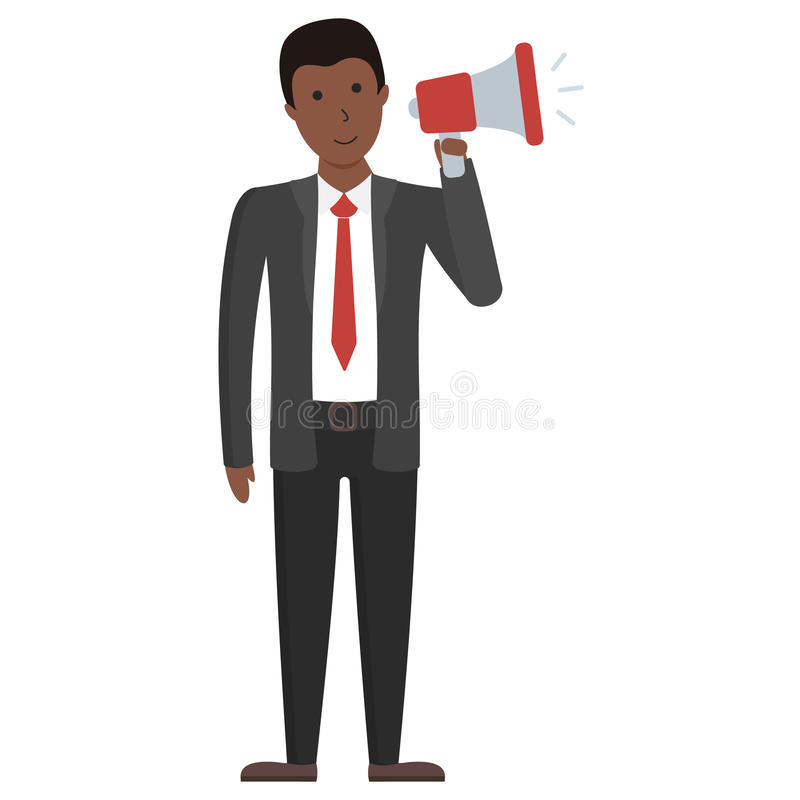 Businessman with loudspeaker. Businessman with loudspeaker standing on white background. Handsome african american speaker making announcement, promotion royalty free illustration