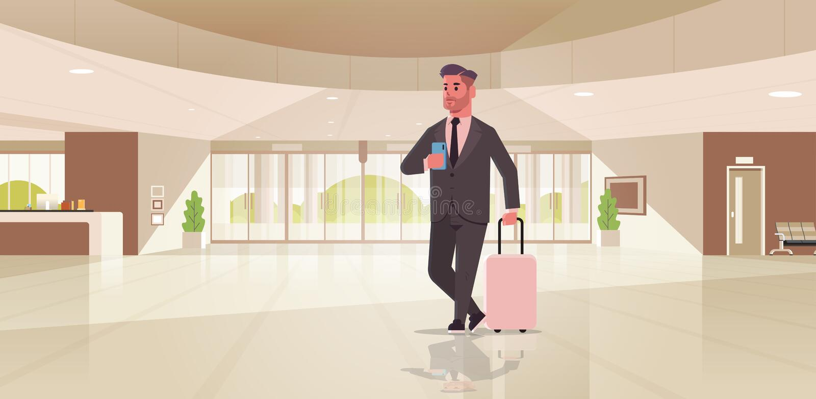 Businessman with luggage modern reception area business man holding suitcase guy standing in lobby contemporary hotel vector illustration