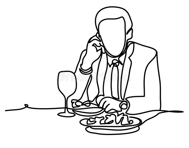 Businessman during lunch time and using mobile phone. Professional vector illustration isolated on white background stock illustration
