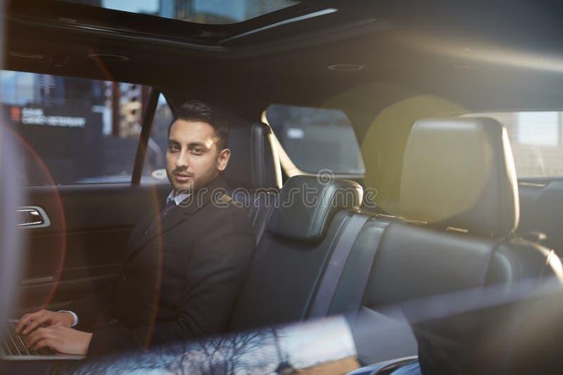 Businessman in Luxury Car stock image