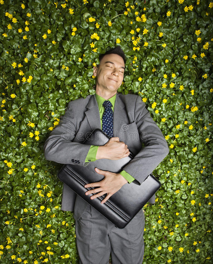 Download Businessman Lying In Flower Patch Stock Image - Image: 12723495