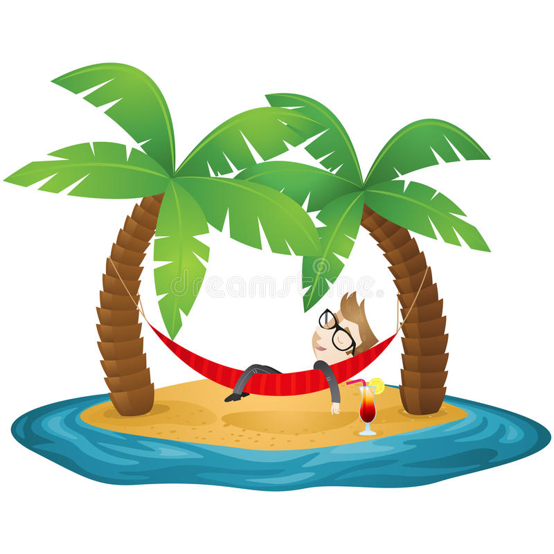 Download Businessman Lying In Hammock On The Beach Stock Vector