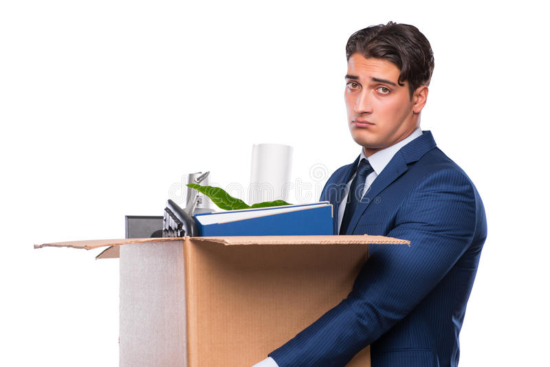 The businessman made redundant fired after dismissal. Businessman made redundant fired after dismissal stock photo