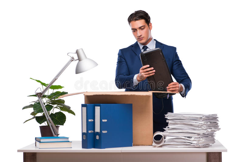 The businessman made redundant fired after dismissal. Businessman made redundant fired after dismissal royalty free stock photography