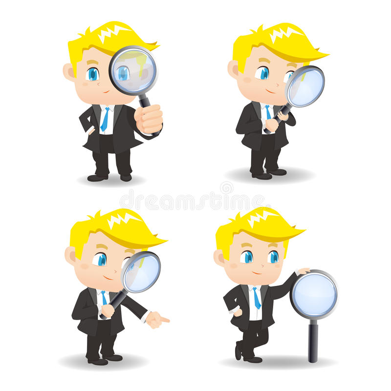 Businessman with magnify glass royalty free illustration