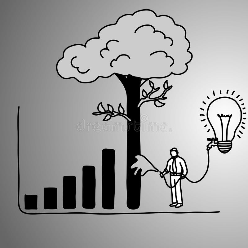 Businessman make graph bar tree higher with water of idea vector. Illustration doodle sketch hand drawn with black lines on gray background. Business concept stock illustration