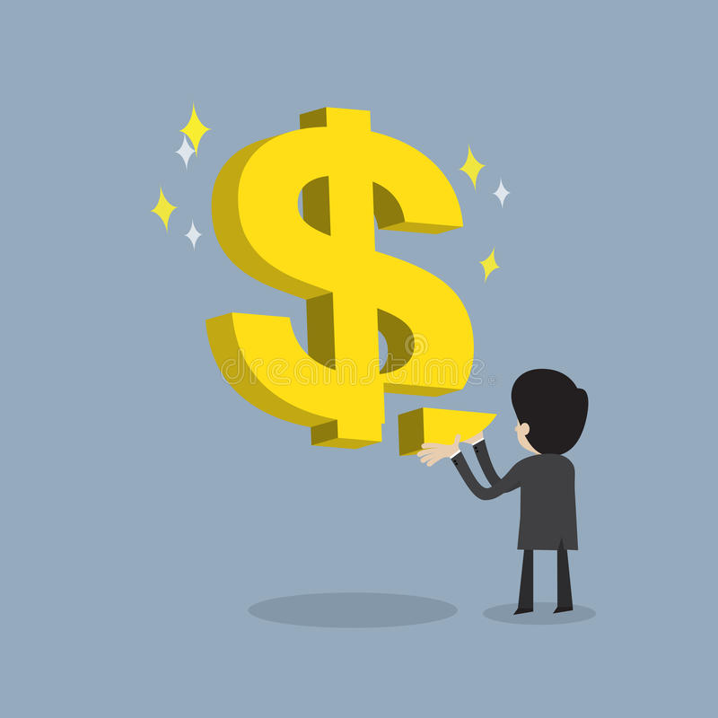 Businessman make strong business or get return on investment. Businessman make strong business by fulfill dollar sign as stable about his money , cartoon vector stock illustration