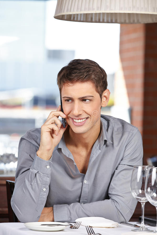 Businessman making call stock photography