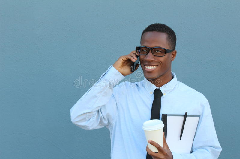 Businessman making a call outside royalty free stock images