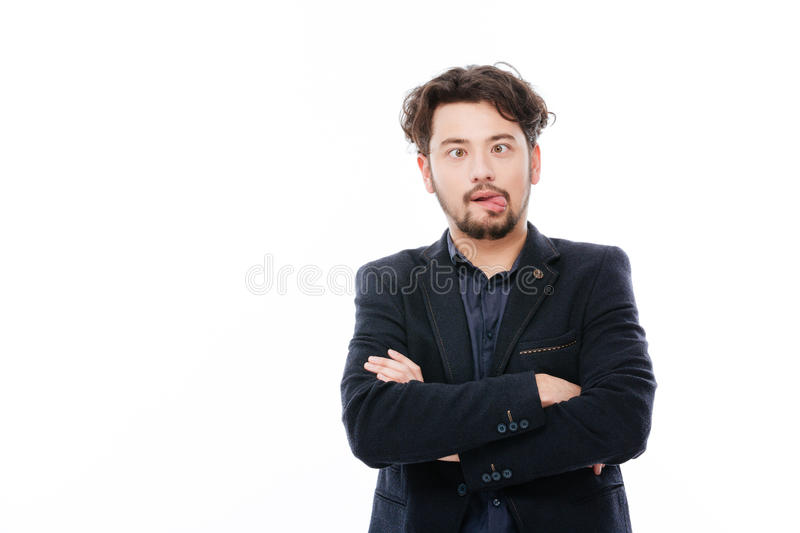 Businessman making funny face stock photography