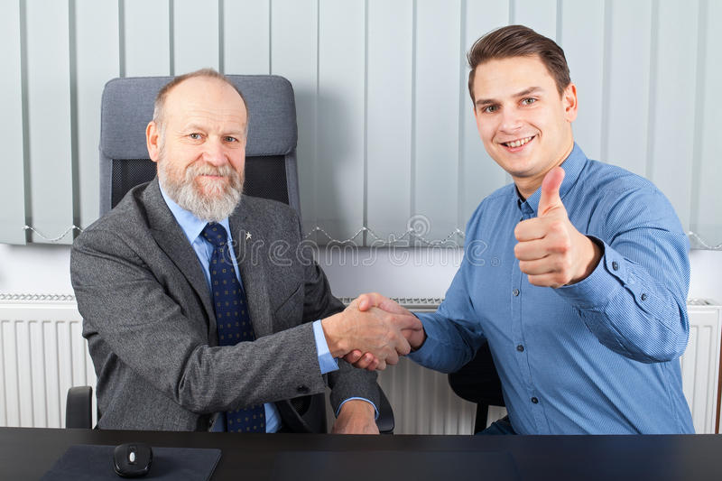 Businessman making a good deal royalty free stock photos