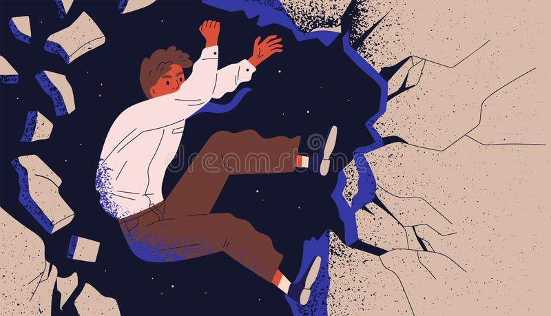 Businessman, male office worker or employee climbing up cliff and falling off. Concept of professional fiasco, career. Failure. Person overcoming life obstacles stock illustration