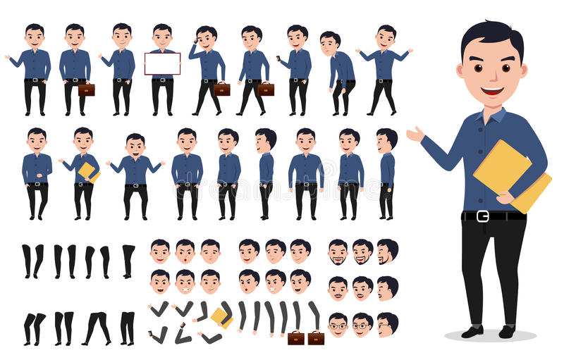 Businessman or male vector character creation set. Professional man holding folder royalty free illustration