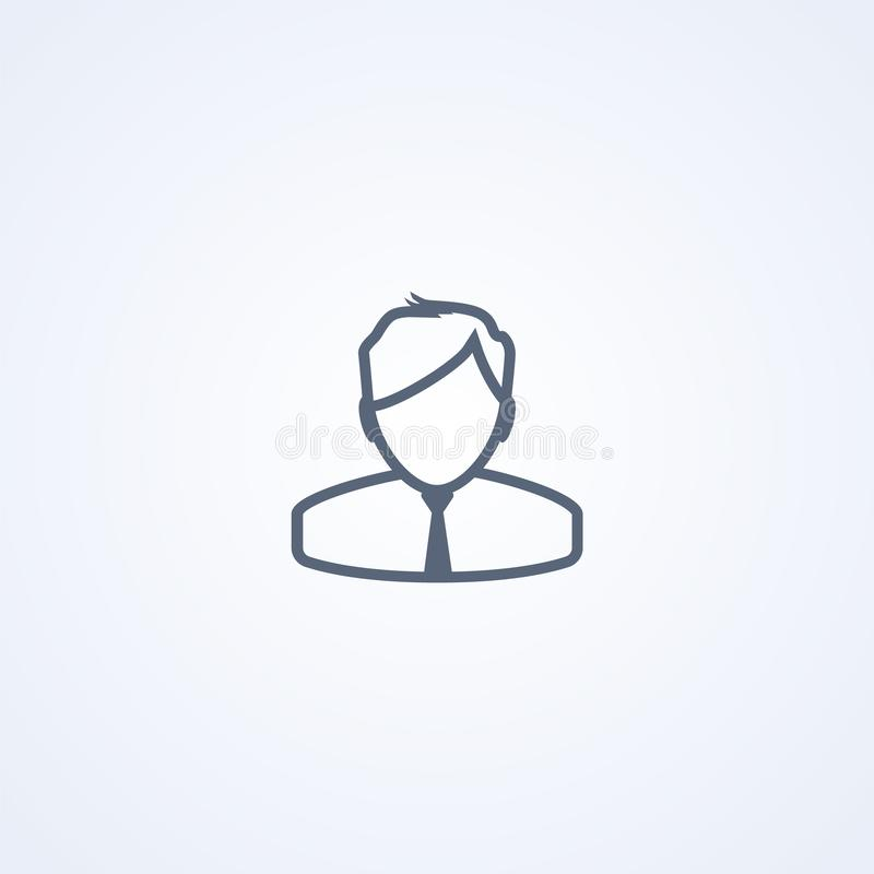 Businessman, man in business suit , vector best gray line icon royalty free illustration