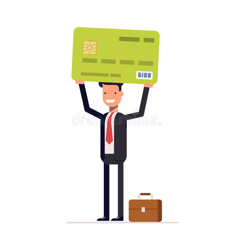 Businessman or manager of bank holding credit card in hand. Smiling man in a business suit with briefcase. Vector royalty free illustration