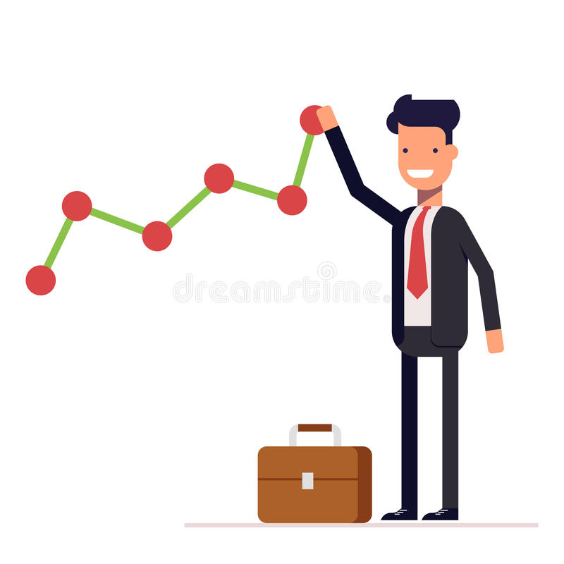 Businessman or manager builds a graph chart of income growth. Man in business suit rejoices success. Vector stock illustration