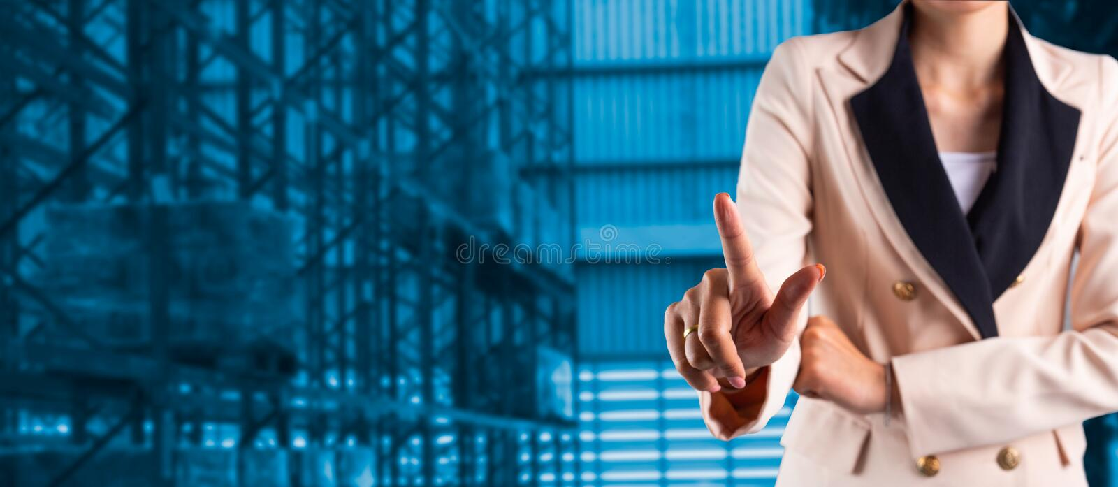 Businessman manager or CEO his fingers of logistics stock photography
