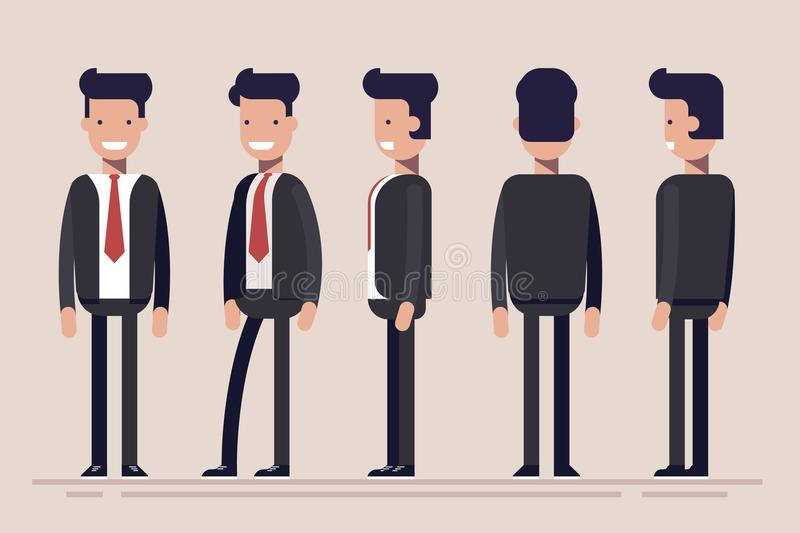 Businessman or manager from different sides. Front, rear, side view of male person. Flat vector illustration in cartoon. Style vector illustration