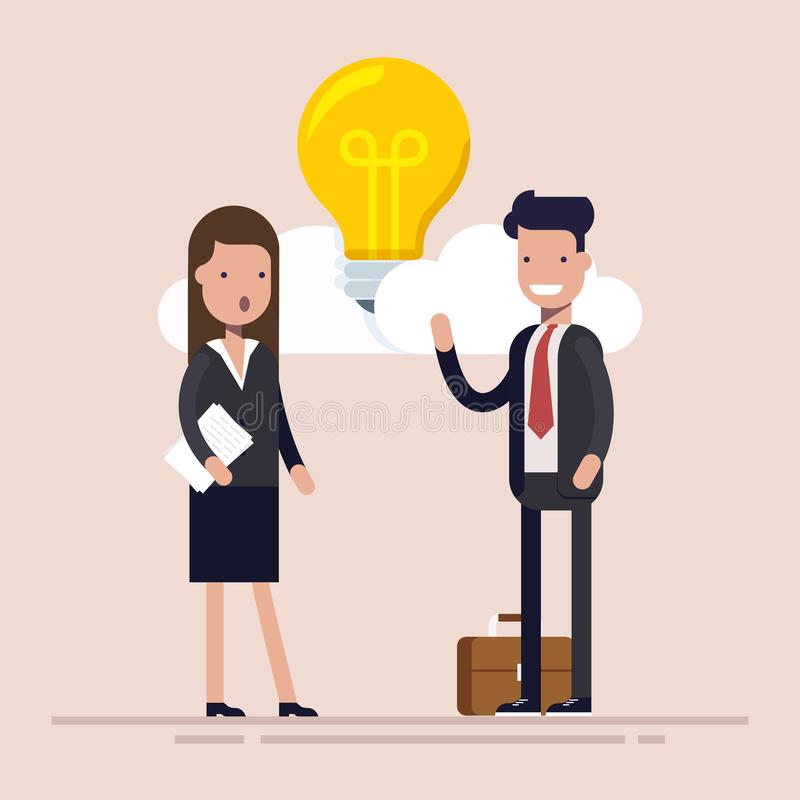 Businessman and manager are discussing new idea. Bulb among the clouds. Flat vector illustration isolated. stock illustration